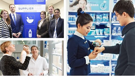 Photo Collage: Supplier Fair at Beiersdorf, Consulting in NIVEA store, product testing in the research department
